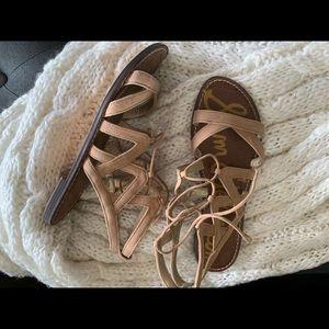 Sam Edelman tan gladiator lace up sandals